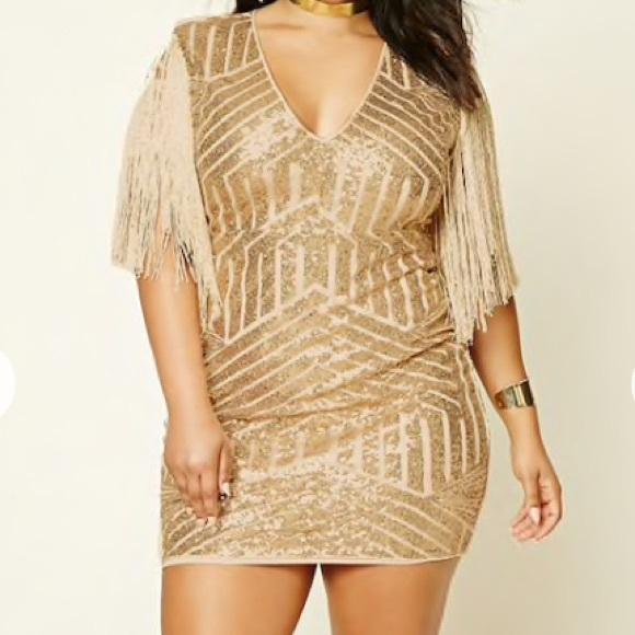 👗Gold Sequins Fringe Plus Size Dress NWT